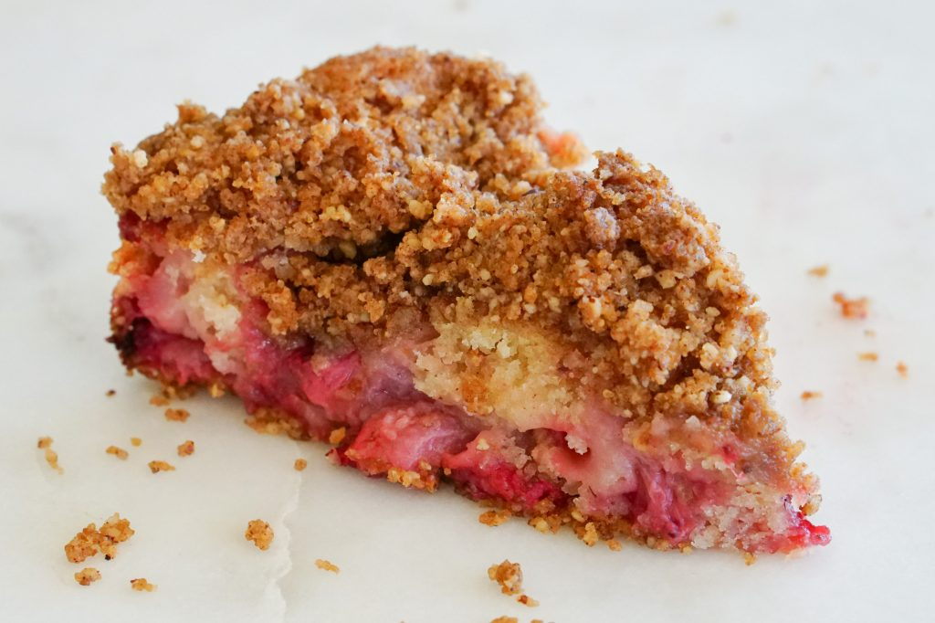 Strawberry Streusel Cake on a white plate