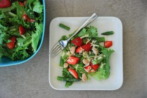 Spinach Strawberry & Asparagus Salad with Toasted Almonds