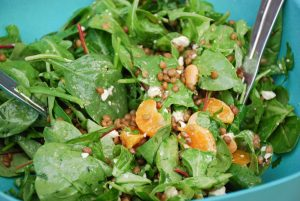 Spinach Salad with Lentils Oranges & Dates