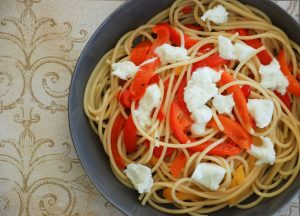 Bucatini with Melted Bell Peppers