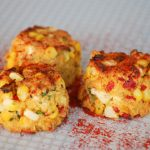 Corn and Piquilllo Pepper Crab Cake Bites