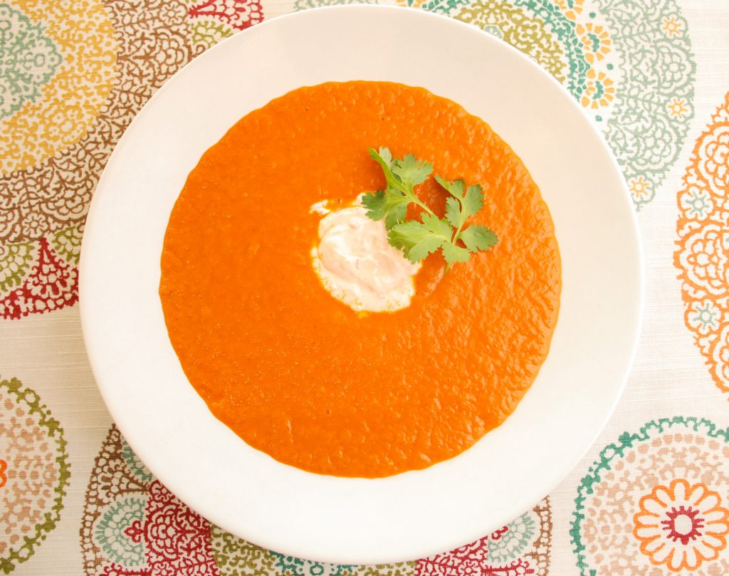 Roasted Tomato & Red Pepper Soup with Harissa Yogurt