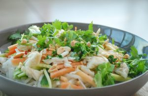 Crab & Rice Noodle Salad with Lime, Herbs and Peanuts