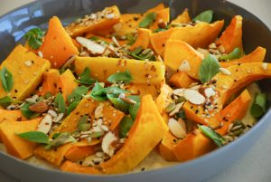 Roasted Butternut Squash with Smoky Eggplant and Basil