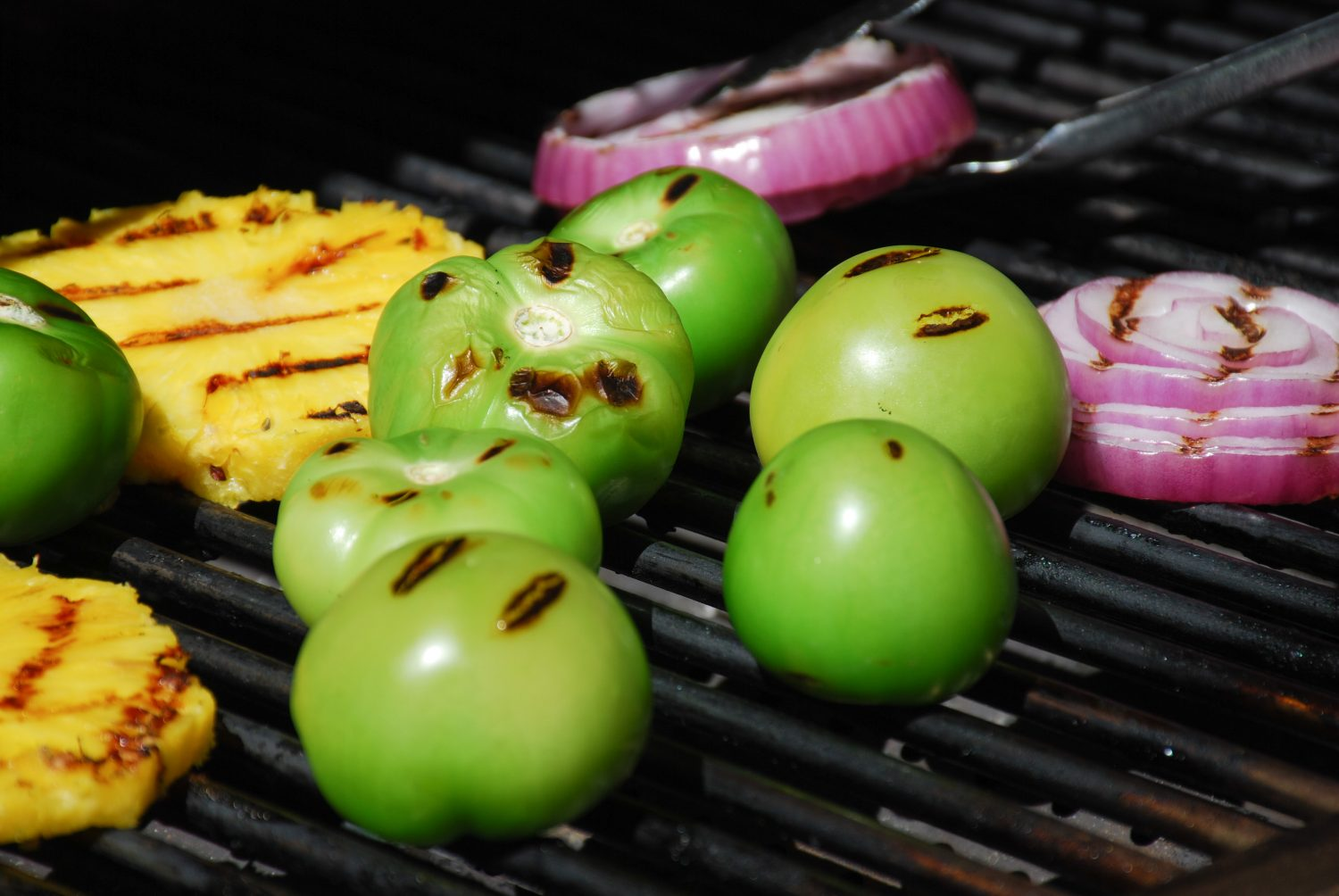 Grilled tomatillos pineapple and onion