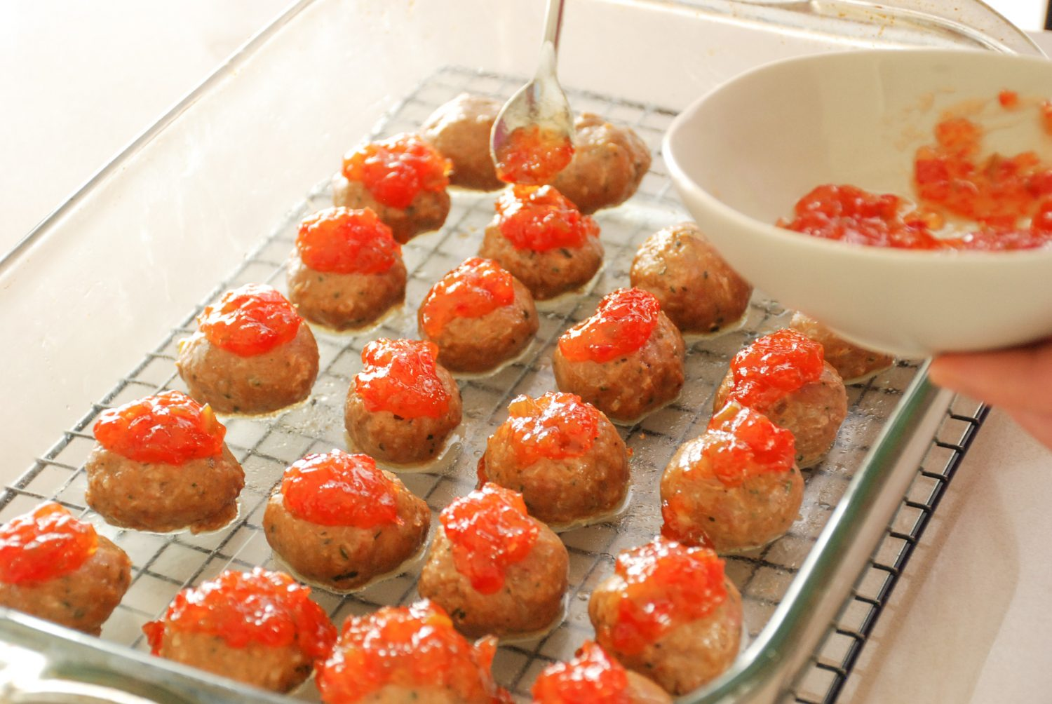 Topped meatballs