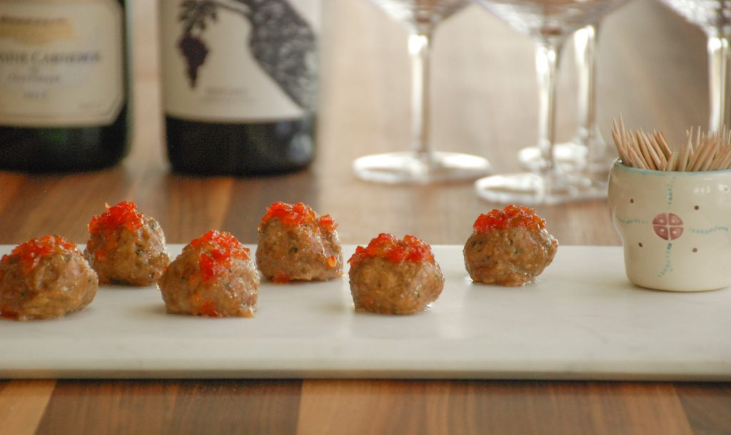 Lamb Meatballs Glazed with Toota's Pepper Jelly