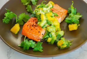 Roasted Salmon with Gingered Mango & Avocado