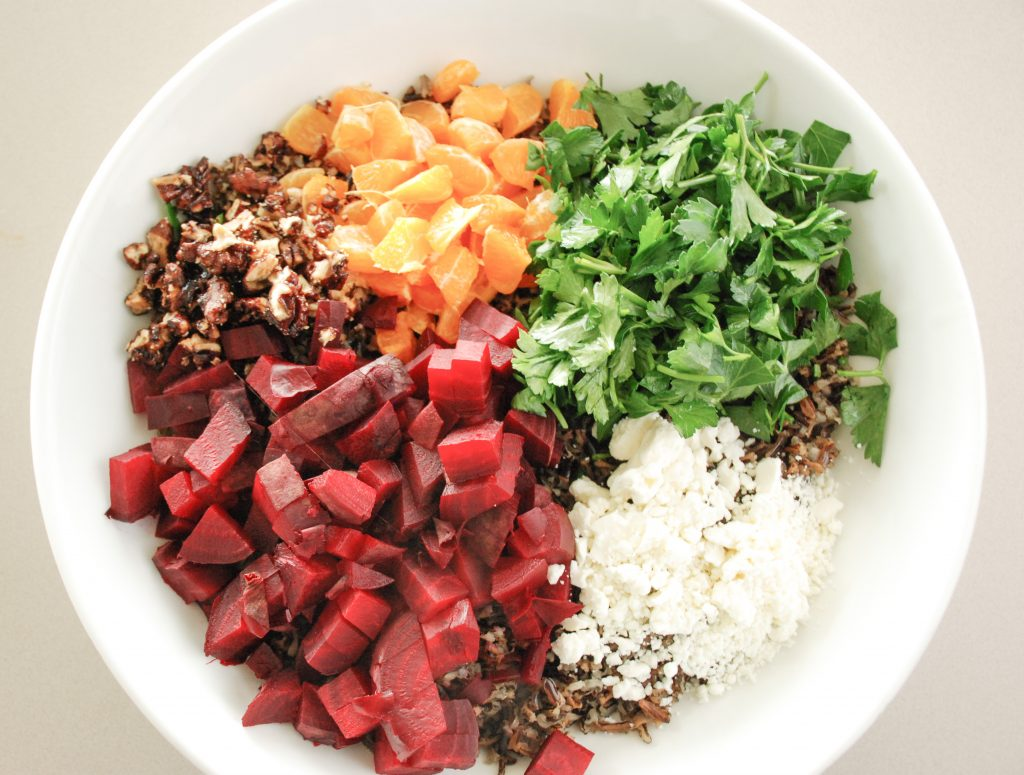 Wild Rice & Roasted Beets with Candied Pecans and Mandarin Oranges