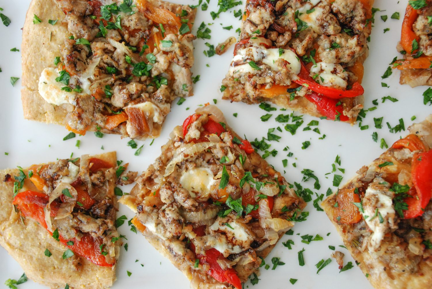 Sausage & Roasted Bell Pepper Tart with Fresh Mozzarella and Balsamic Drizzle