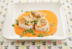 Seared Scallops with Silky Tomato Coconut Sauce
