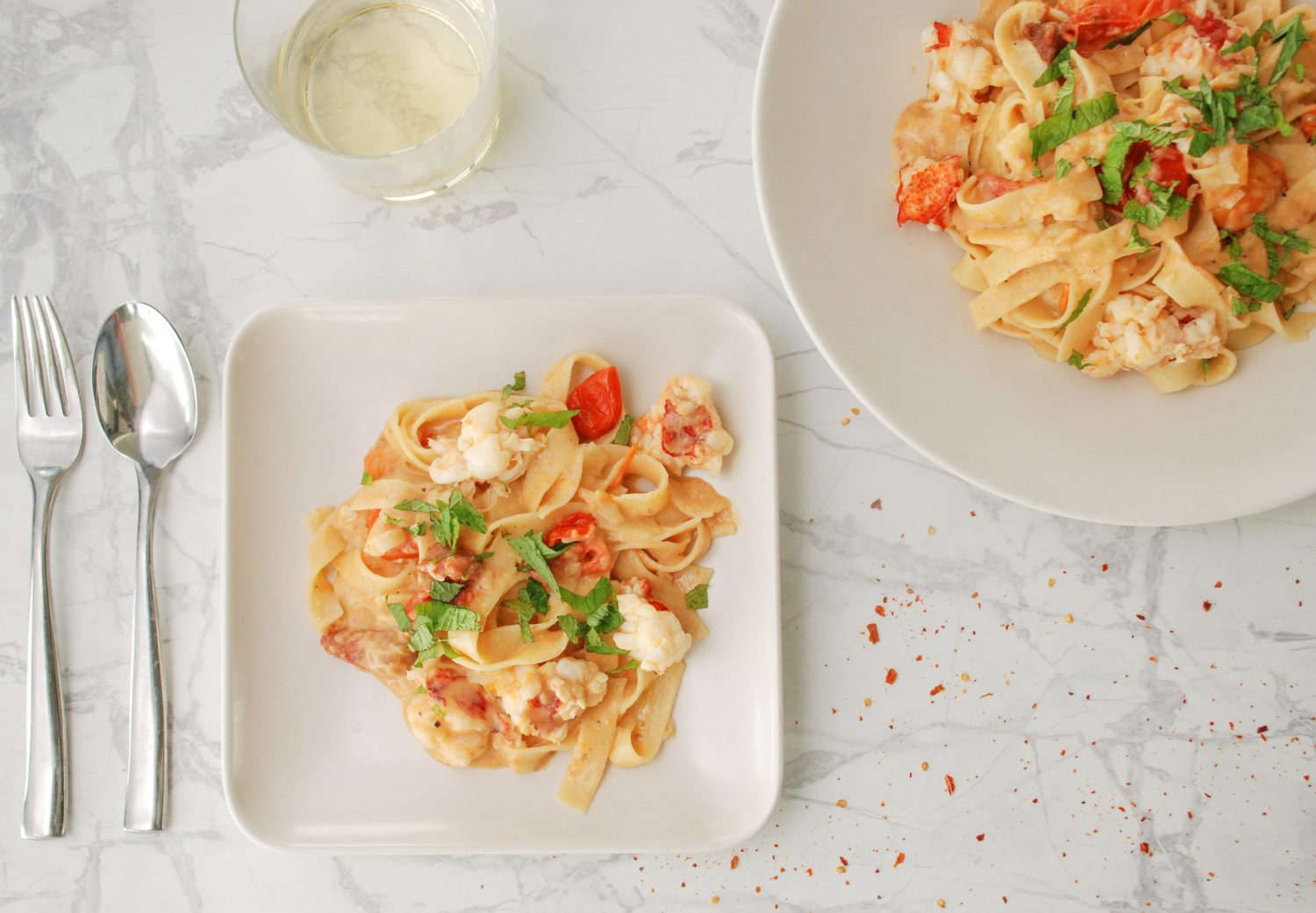 Lemony Lobster Pasta with Burst Cherry Tomatoes & Mint