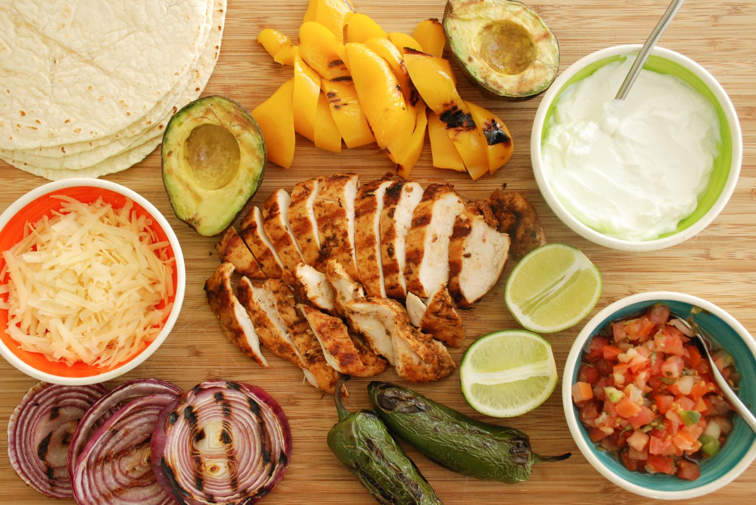Lime-Marinated Grilled Chicken Fajitas with Grilled Avocado
