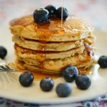 Banana Oat Blender Pancakes with White Chocolate