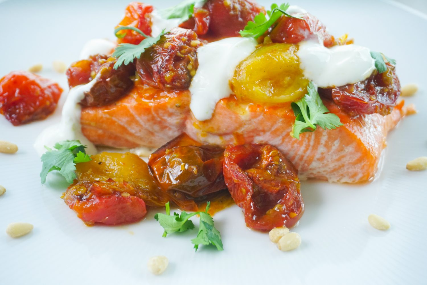 Roasted Salmon with Jammy Gingered Tomatoes & Lime Yogurt