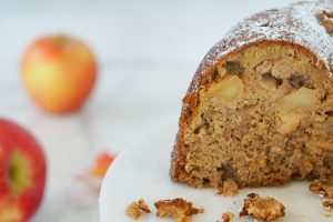 Moist inside of apple cake