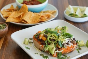 Stuffed Sweet Potato with Chips and Salsa