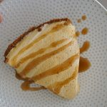 Frozen pumpkin pie drizzled with caramel