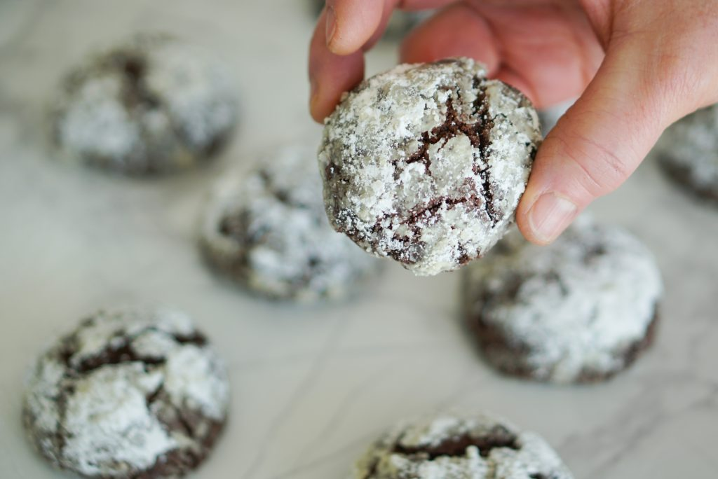 Picking up chocolate peppermint crackle