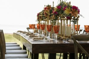 Nicely Set Outdoor Thanksgiving Table with Glasses