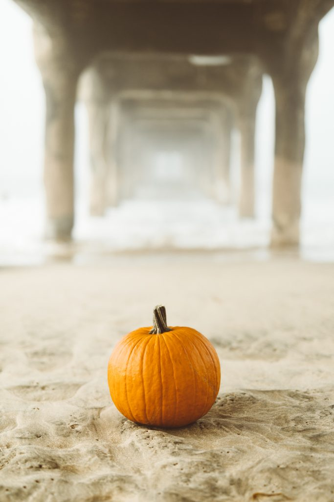 Pumpkin on beach under pier