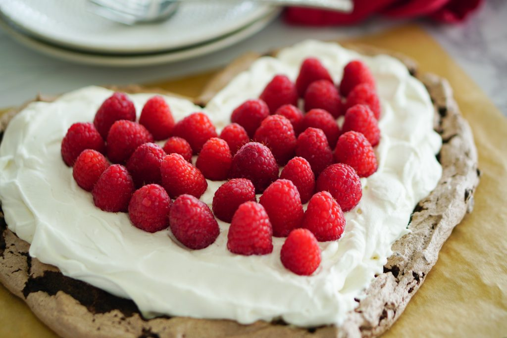 Valentines Day Pavlova in shape of heart