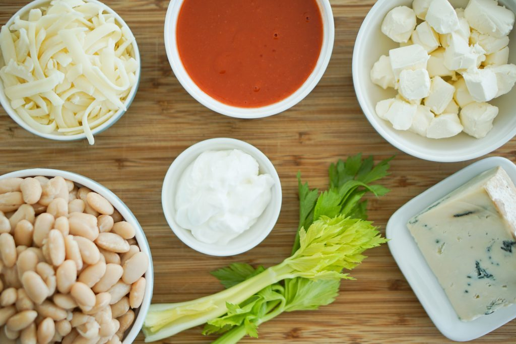 Ingredients for buffalo style bean dip