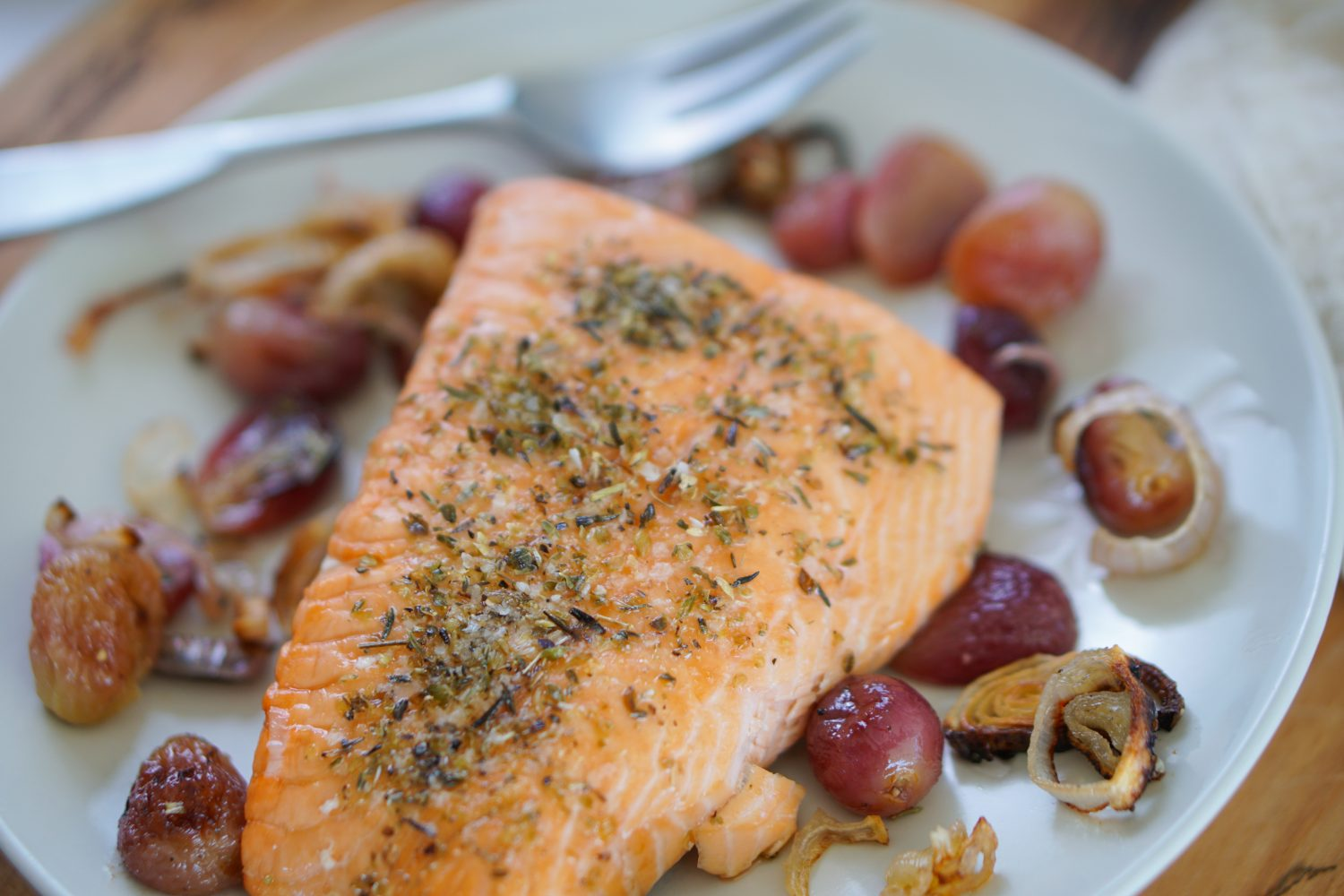 Sheet Pan Salmon with Roasted Grapes & Shallots