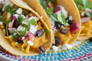 Spaghetti Squash Tacos with Black Beans & Quick Pickled Red Onion
