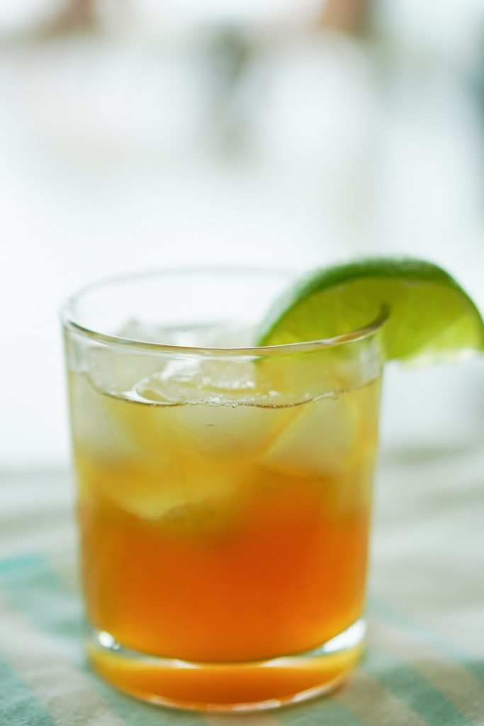 The Southerly cocktail on white and blue striped background
