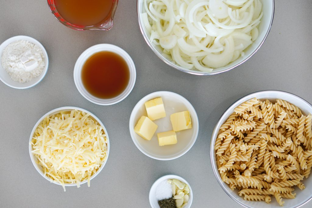 Ingredients for french onion pasta bake
