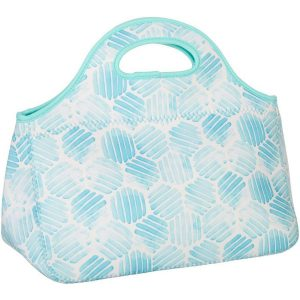 Key Lime Lexi Hexagon Print Neoprene Lunch Tote