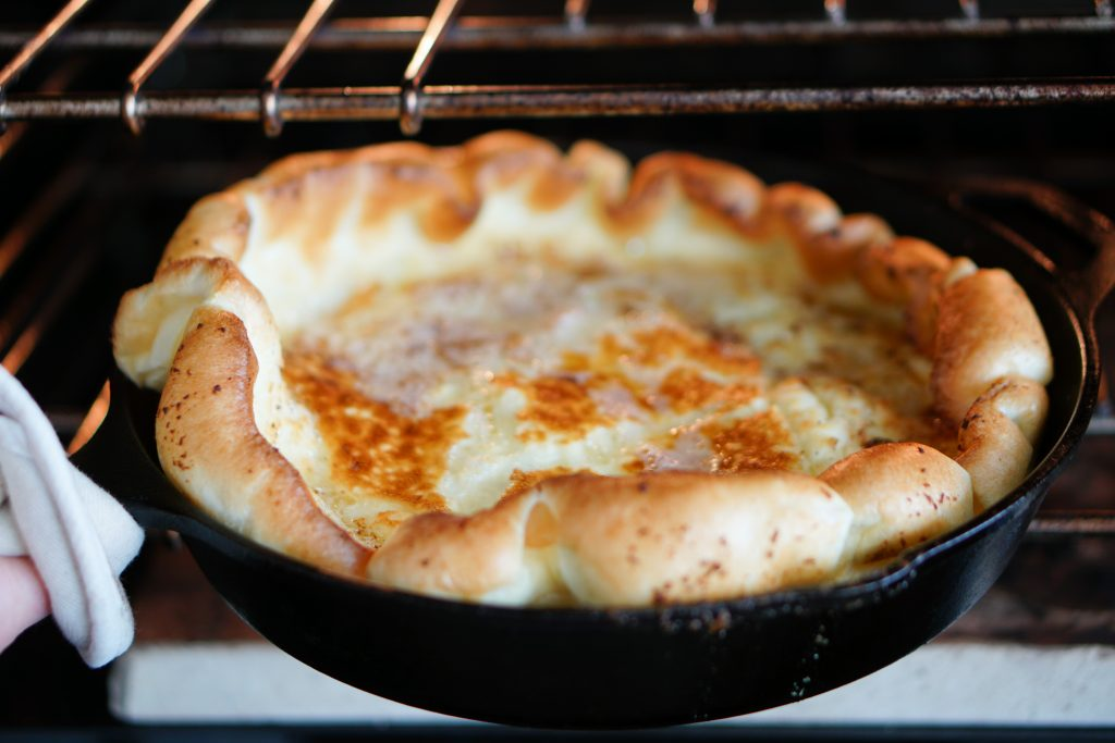 Dutch baby coming out of oven