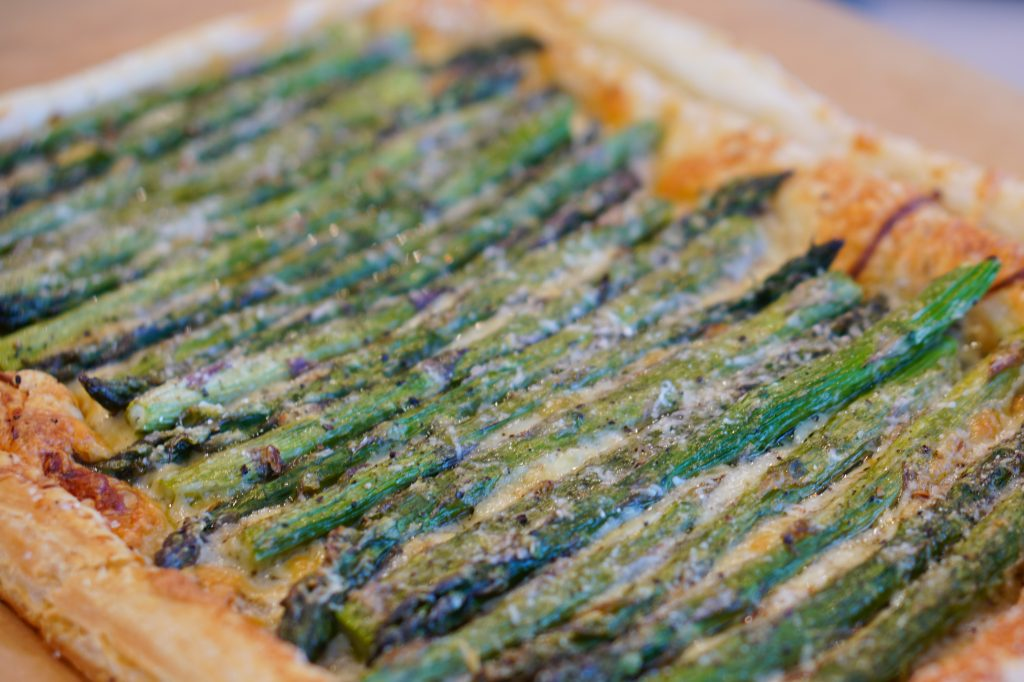 Close up of Asparagus and Gruyere Tart