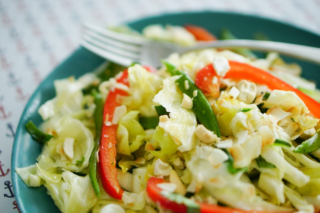 Tropical slaw with pineapple on plate