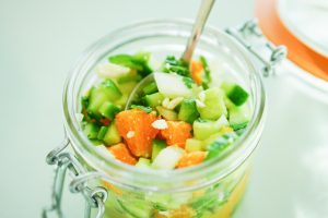 Top lay of Cucumber, Poblano & Orange Salsa in glass jar