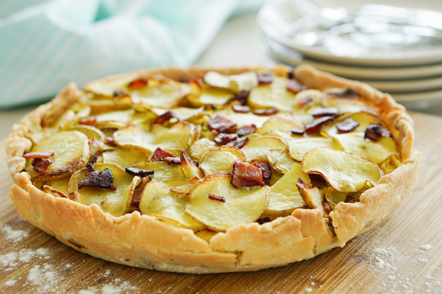 Cabbage Pie Topped with Crispy Potatoes & Bacon