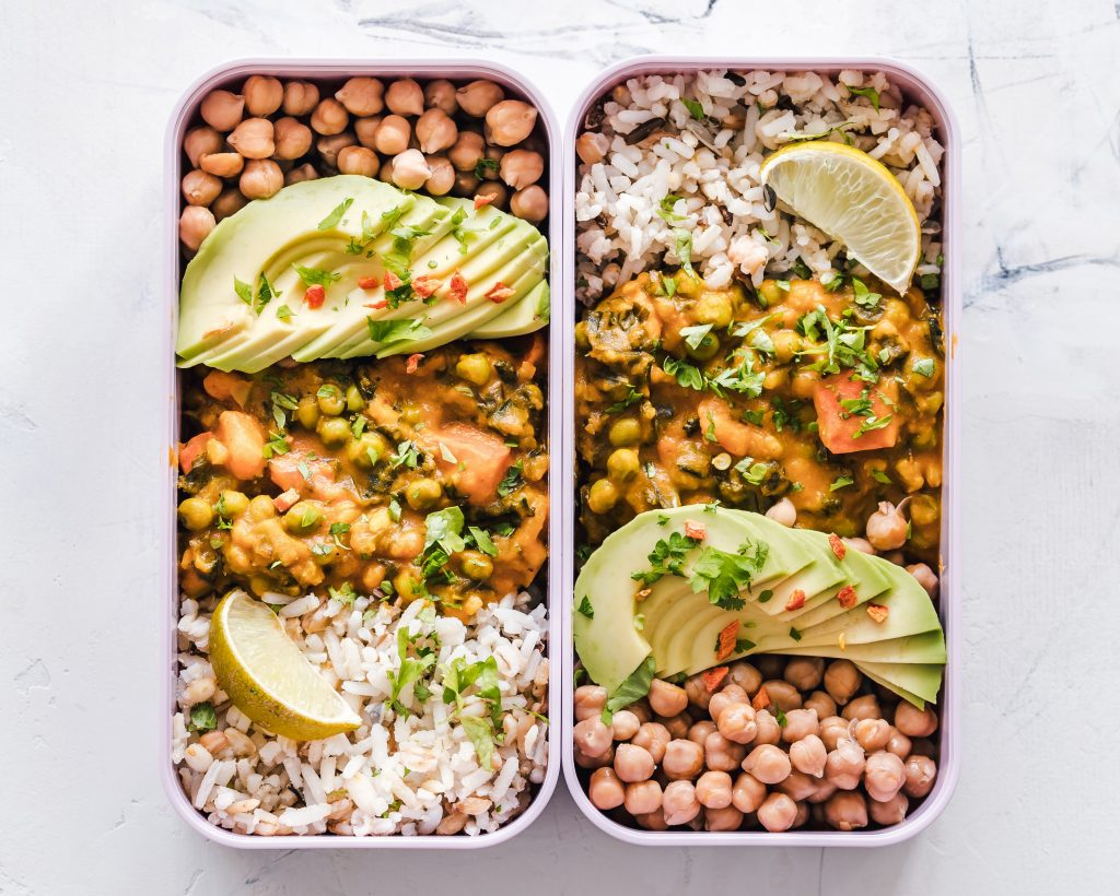 Lunch Container with chickpeas rice avocado