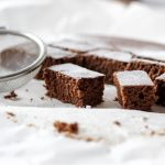 gingerbread cake cut in bite sizes with powdered sugar