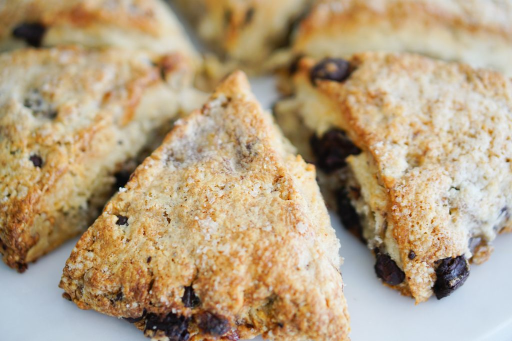 Top lay chunky monkey scones on white plate