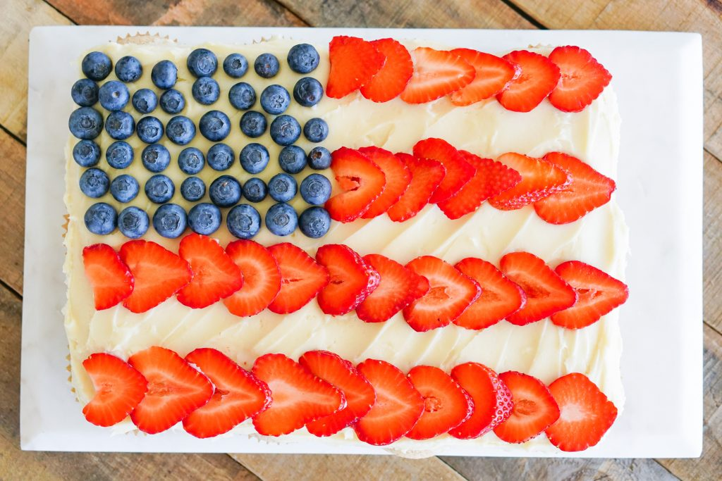 Top down of Pull-Apart cupcakes topped with blueberries and strawberries in US flag design