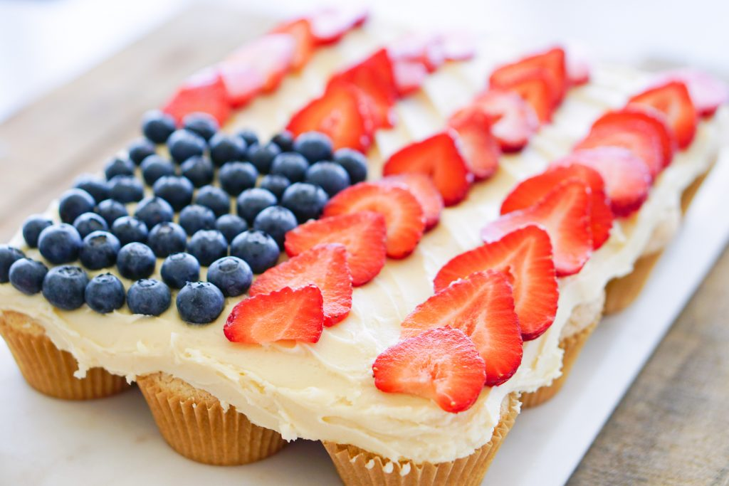 Pull-Apart cupcakes topped with blueberries and strawberries in US flag design