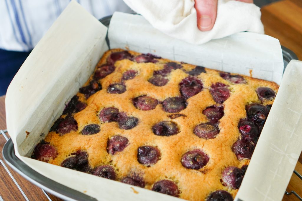 Cherry Almond bars coming out of the oven