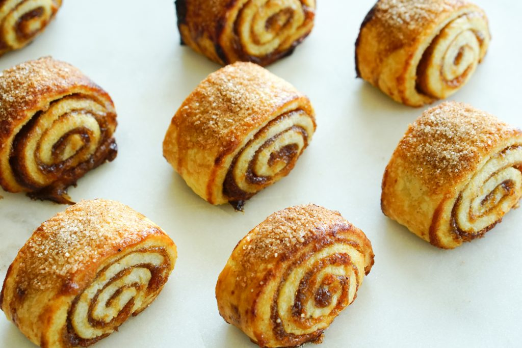 Top down of apple butter rugelach