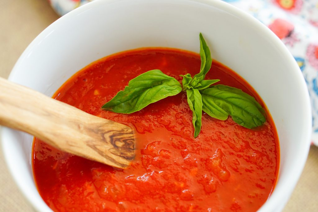 Best Big Batch From Scratch Tomato Sauce in a serving dish