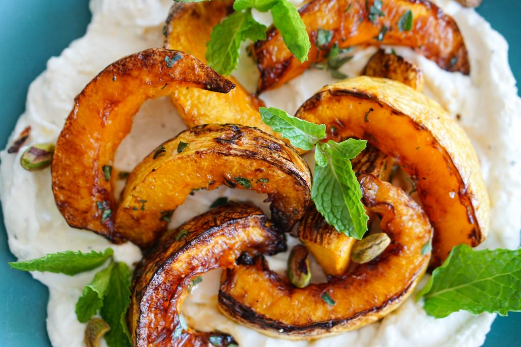 Close up of Roasted Winter Squash with Creamy Ricotta & Feta