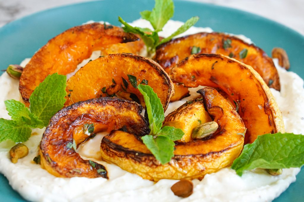 Roasted Winter Squash with Creamy Ricotta & Feta on blue serving platter