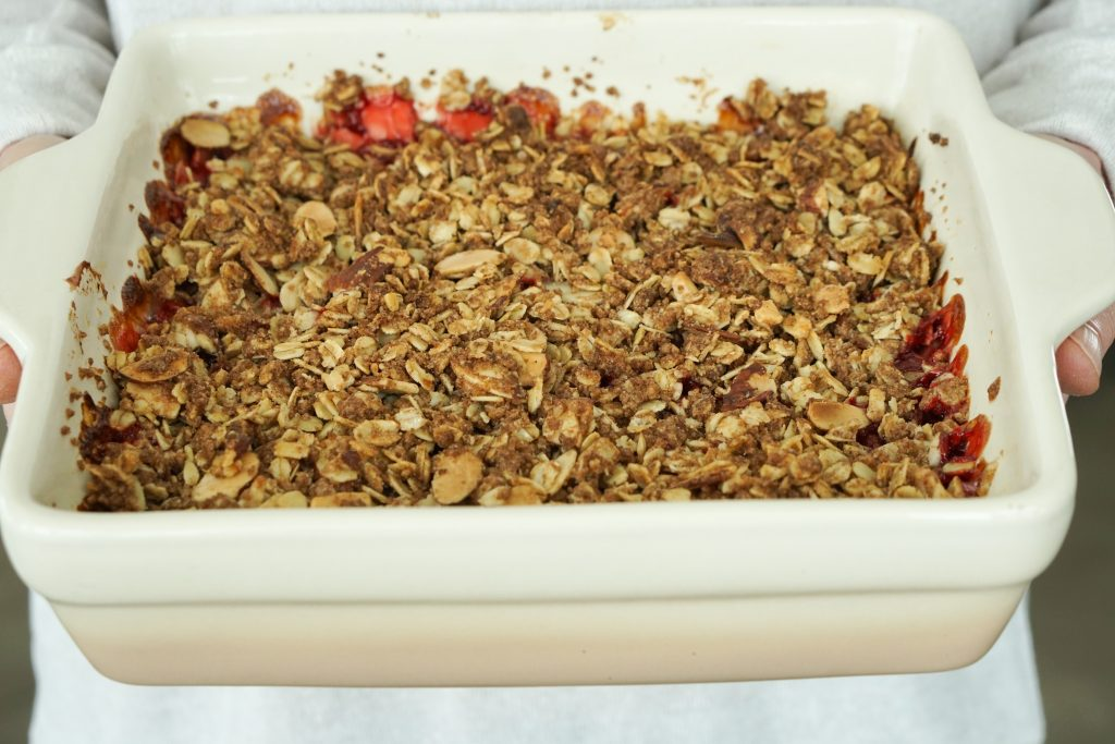 Strawberry Crisp in Key Lime Lexi ombre baker hot out of the oven