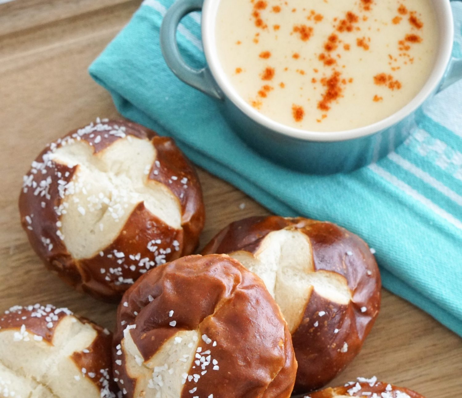 Smoked Cheddar Beer Cheese with Soft Pretzels